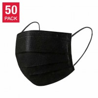 Black Disposable 3 Layer Face Mask - 50 Pack